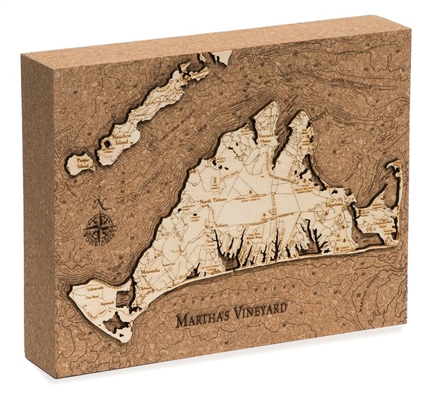Martha's Vineyard Cork Map Nautical Topographic Art