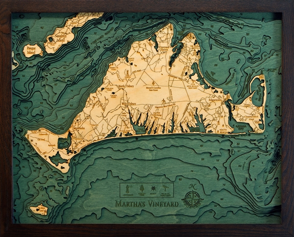 3D Martha's Vineyard Nautical Real Wood Map Depth Decorative Chart