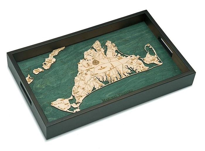 Martha's Vineyard Nautical Real Wood Map Decorative Serving Tray