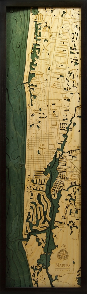 Naples Nautical Topographic Art: Bathymetric Real Wood Decorative Chart