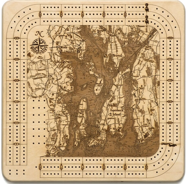 Narragansett Real Wood Decorative Cribbage Board