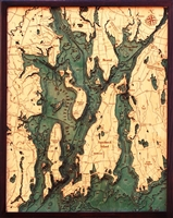 Narragansett Bay and Newport Nautical Topographic Art: Bathymetric Real Wood Decorative Chart