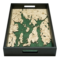 Narragansett Bay Nautical Real Wood Map Decorative Serving Tray