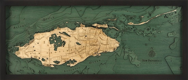 Nassau, Bahamas Nautical Topographic Art: Bathymetric Real Wood Decorative Chart