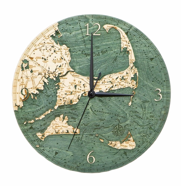 Cape Cod and Islands Real Wood Decorative Clock