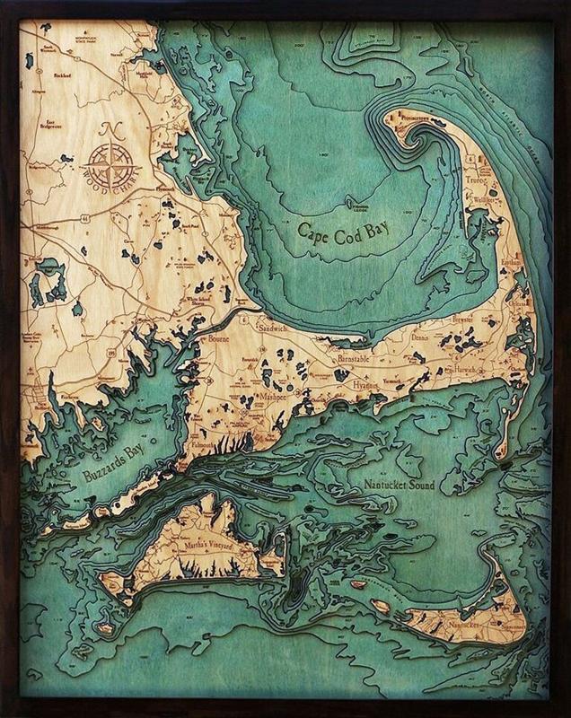 Woodchart Cape Cod Nautical Topographic Art Bathymetric