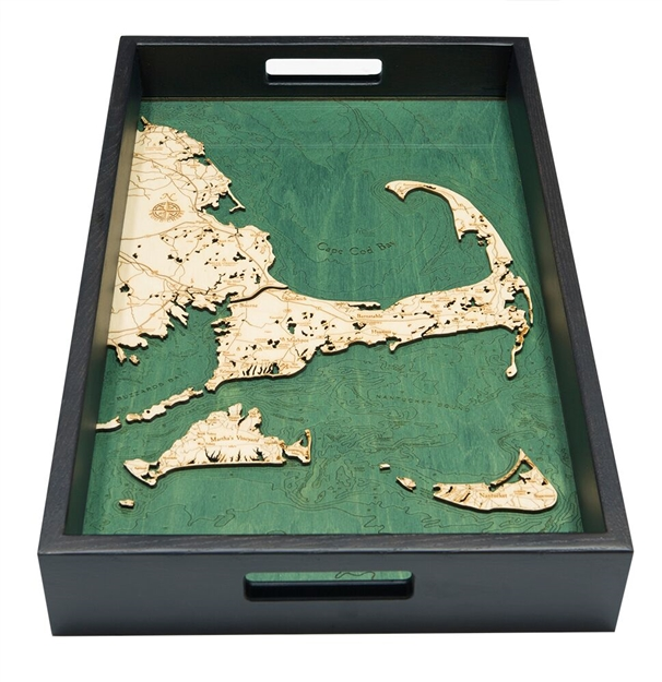 Cape Cod and Islands Nautical Real Wood Map Decorative Serving Tray