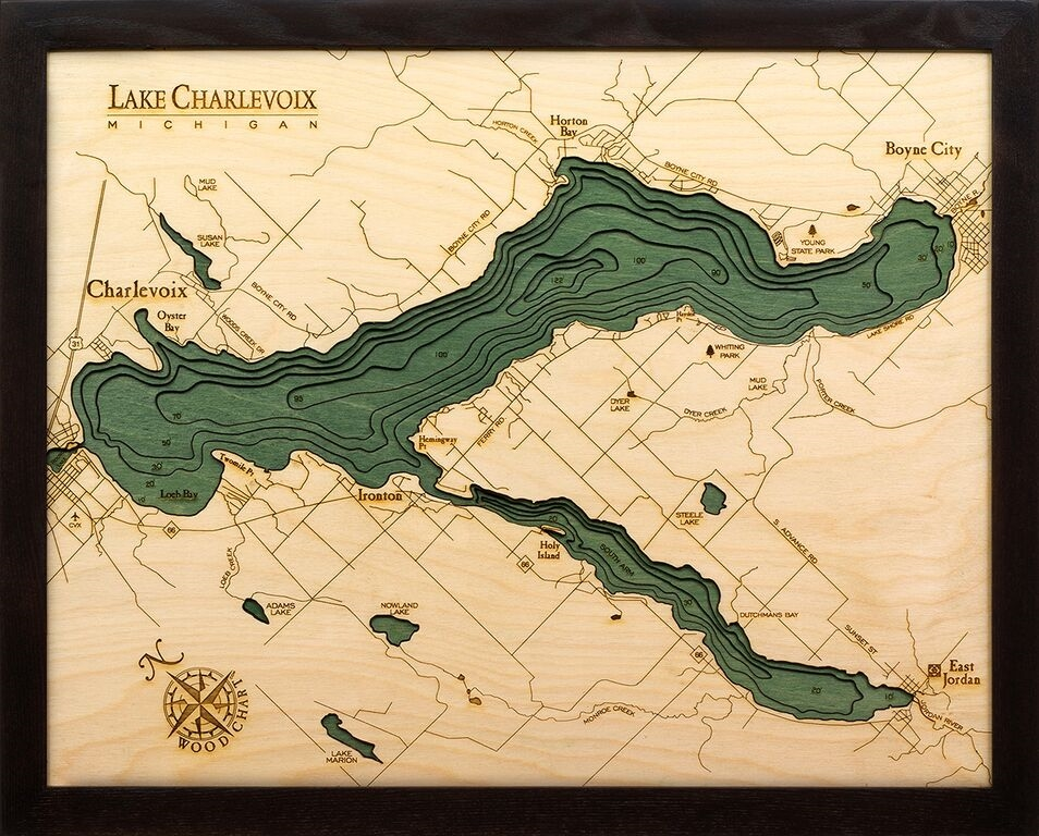 Lake Charlevoix Laser Cut Wood Maps Topography For Sale