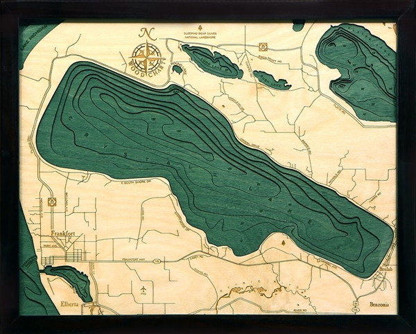 Crystal Lake Nautical Topographic Art: Bathymetric Real Wood Decorative Chart