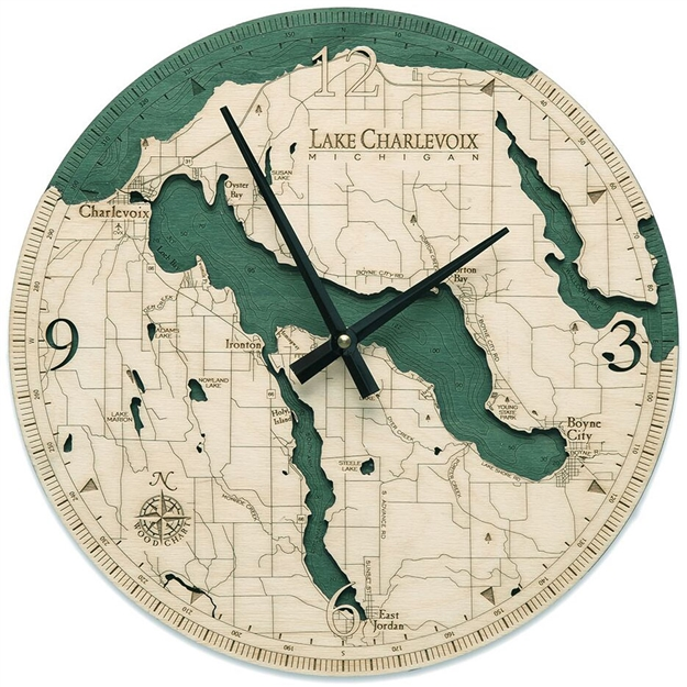 Lake Charlevoix Real Wood Decorative Clock