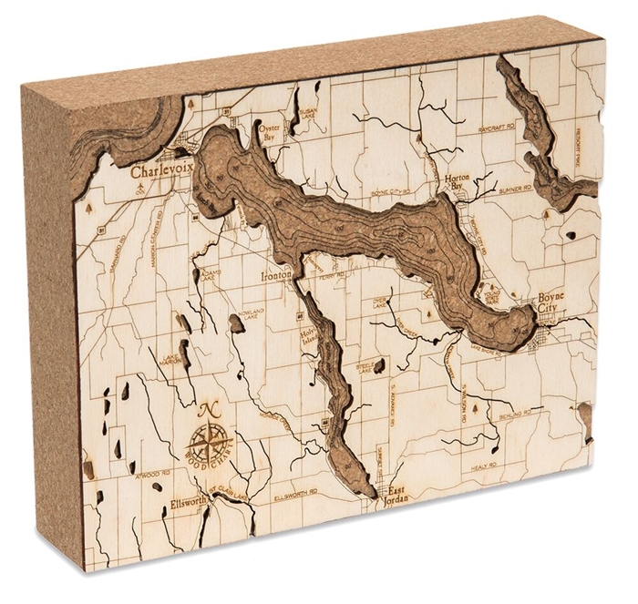 Lake Charlevoix Cork Map Nautical Topographic Art