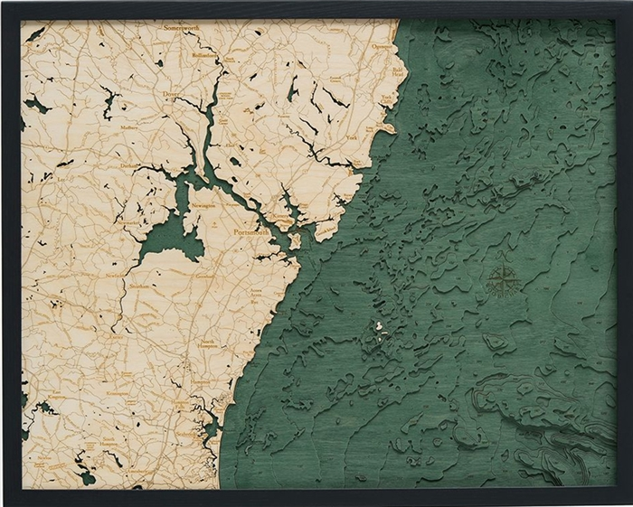 Portsmouth, NH Nautical Topographic Art: Bathymetric Real Wood Decorative Chart