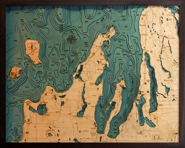3D Grand Traverse Bay Nautical Real Wood Map Depth Decorative Chart