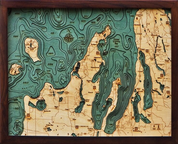 Grand Traverse Bay Nautical Topographic Art: Bathymetric Real Wood Decorative Chart