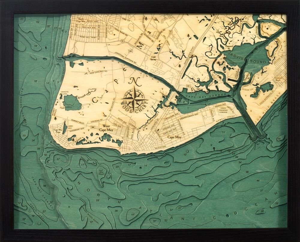 Custom Wood Charts Of Cape May From Carved Lake Art Nautical Gifts