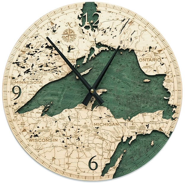 Lake Superior Real Wood Decorative Clock