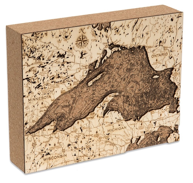 Lake Superior Cork Map Nautical Topographic Art
