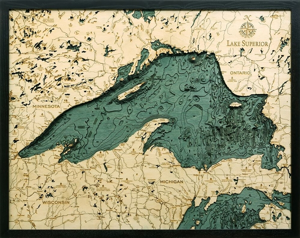 3D Lake Superior Nautical Real Wood Map Depth Decorative Chart