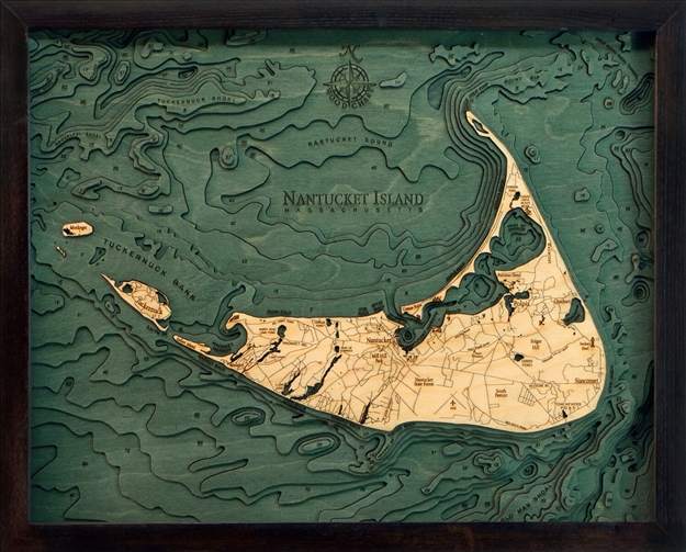 Nantucket Island Nautical Topographic Art: Bathymetric Real Wood Decorative Chart