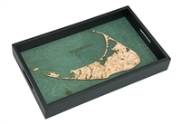 Nantucket Nautical Real Wood Map Decorative Serving Tray
