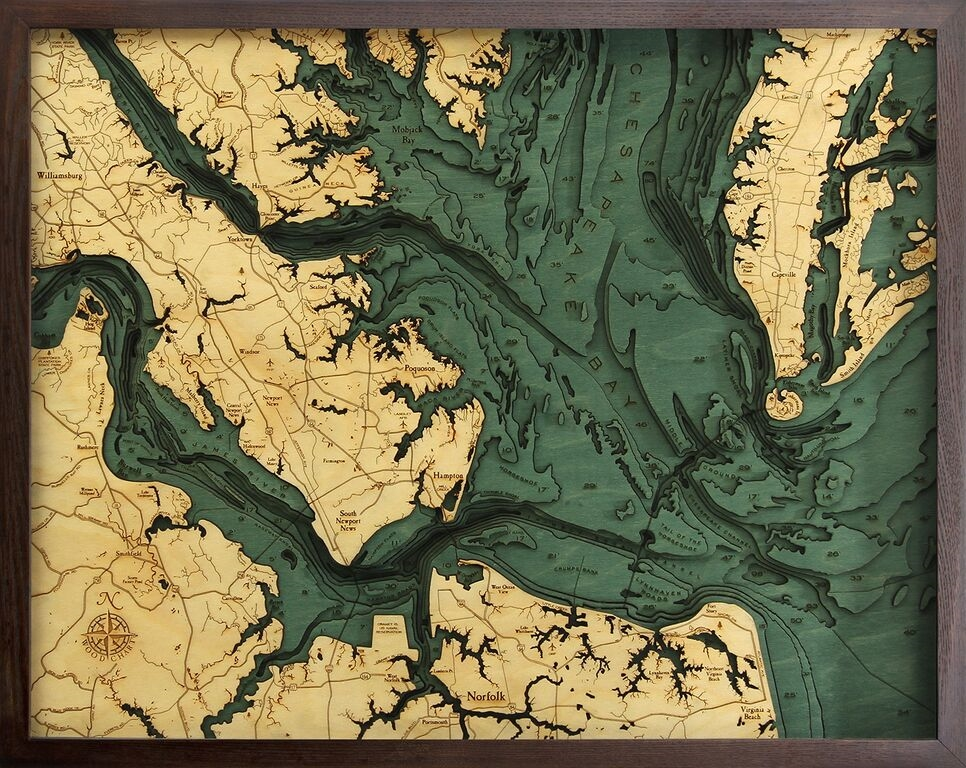 Chesapeake Bay Topographic Map.Custom Nautical Wall Map Of The Lower Chesapeake Bay