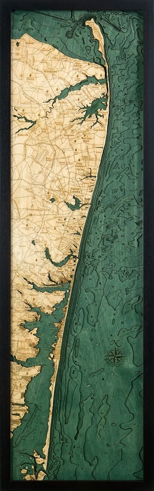 New Jersey North Shore Nautical Topographic Art: Bathymetric Real Wood Decorative Chart
