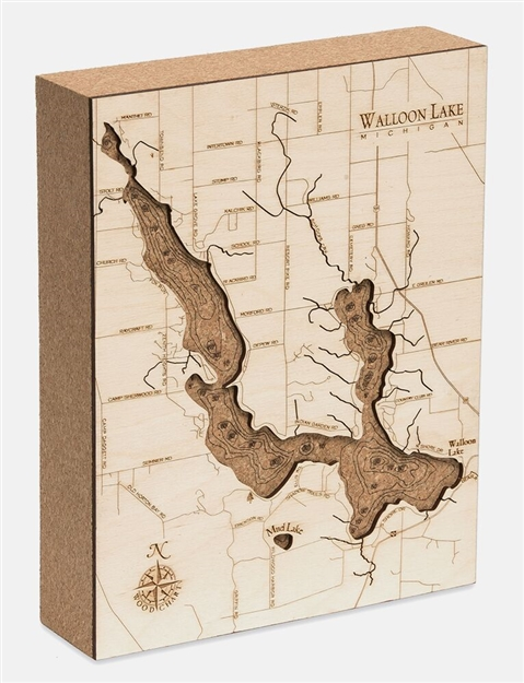 Walloon Lake Cork Map Nautical Topographic Art