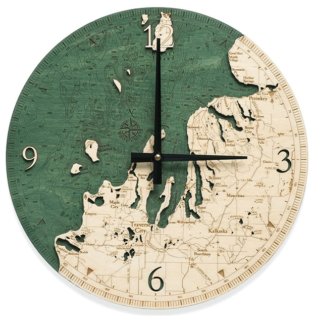 3D Northwest Michigan Real Wood Decorative Clock