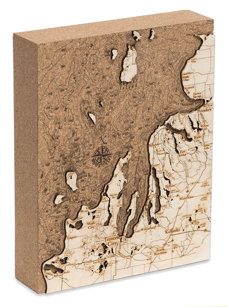 Northwest Michigan Cork Map Nautical Topographic Art