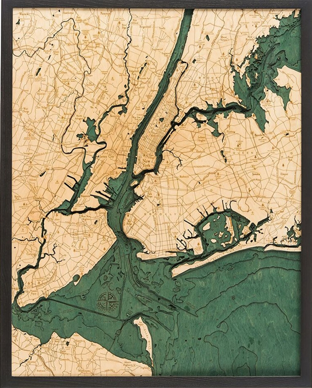 5 Boroughs of New York wood nautical chart map