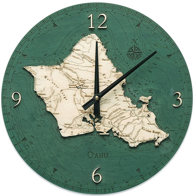 Oahu Real Wood Decorative Clock
