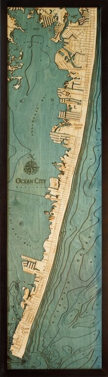 Ocean City Nautical Topographic Art: Bathymetric Real Wood Decorative Chart
