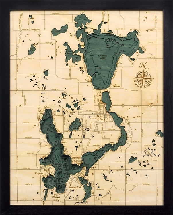 Lake Okoboji Nautical Topographic Art: Bathymetric Real Wood Decorative Chart