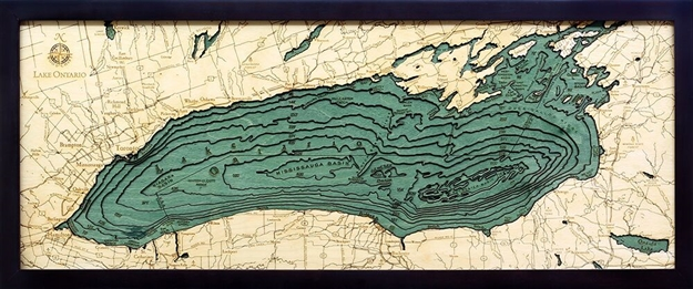 3D Lake Ontario Nautical Real Wood Map Depth Decorative Chart