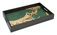 New Orleans Nautical Real Wood Map Decorative Serving Tray