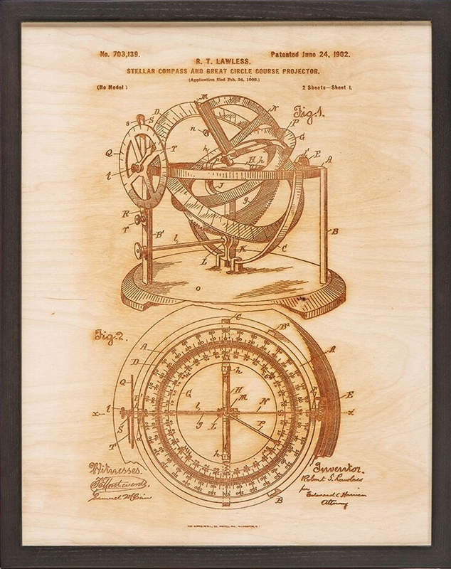 Nautical patent art compass laser etched on wood
