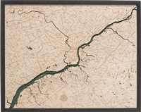 Philadelphia Topographic Art:  Real Wood Decorative Map