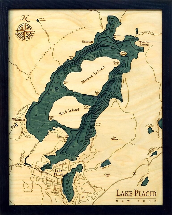 Lake Placid Nautical Topographic Art: Bathymetric Real Wood Decorative Chart