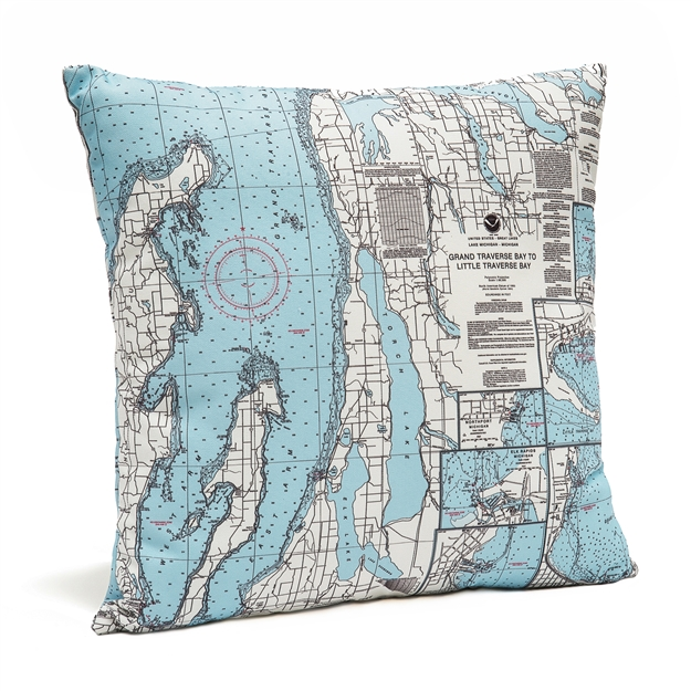 Grand Traverse Bay Indoor Outdoor Nautical Pillow Map