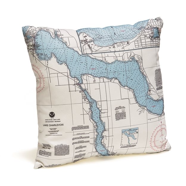 Lake Charlevoix Indoor Outdoor Nautical Pillow Map