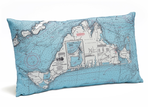 Martha's Vineyard Indoor Outdoor Nautical Pillow Map