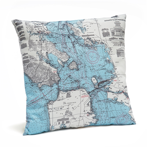 San Francisco Bay Indoor Outdoor Nautical Pillow Map