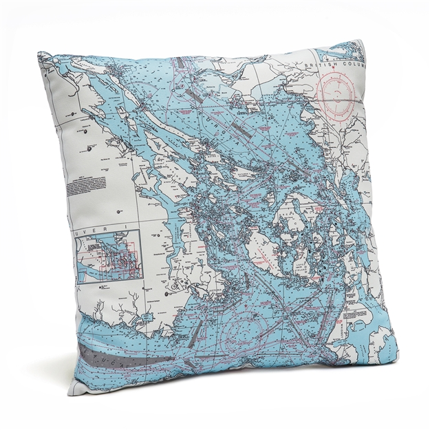 San Juan Islands Indoor Outdoor Nautical Pillow Map