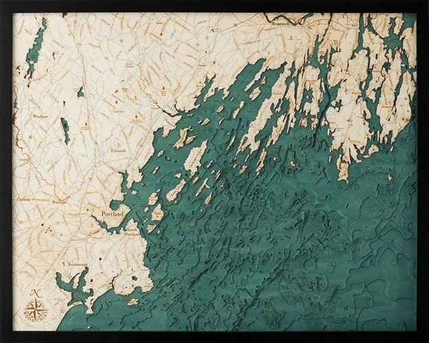 Portland Maine Nautical Topographic Art: Bathymetric Real Wood Decorative Chart