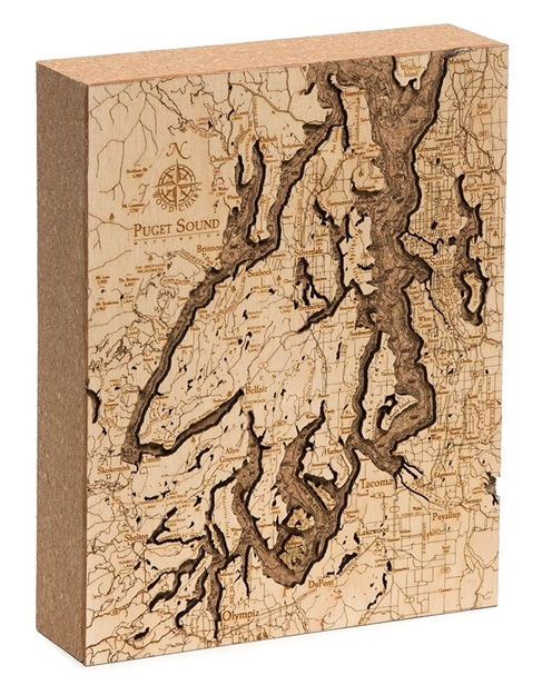Puget Sound Cork Map Nautical Topographic Art