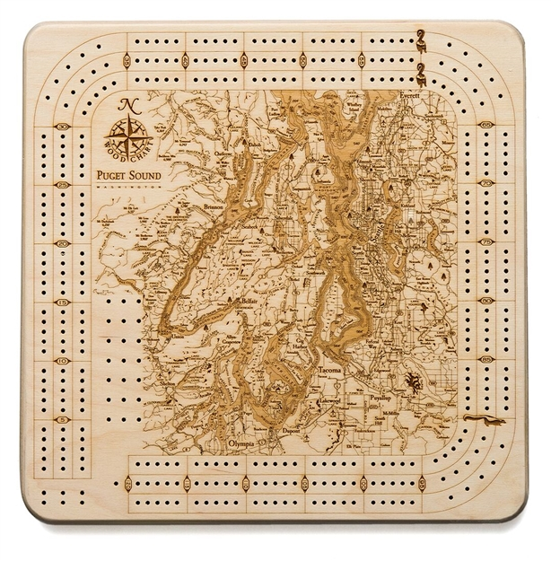 Puget Sound Real Wood Decorative Cribbage Board