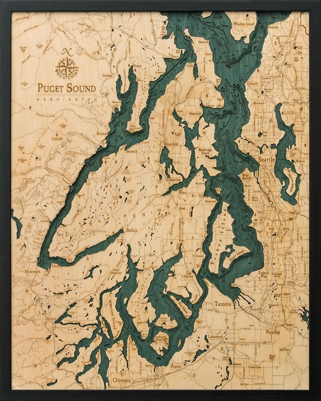 Get a beautiful topographical wood chart of Puget Sound