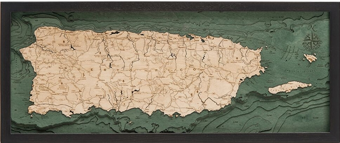 Puerto Rico Nautical Topographic Art: Bathymetric Real Wood Decorative Chart