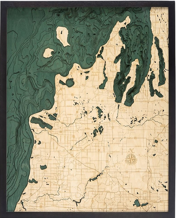 Michigan Route M-22Topographic Art: Bathymetric Real Wood Decorative Chart