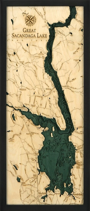 Great Sacandaga Nautical Topographic Art: Bathymetric Real Wood Decorative Chart